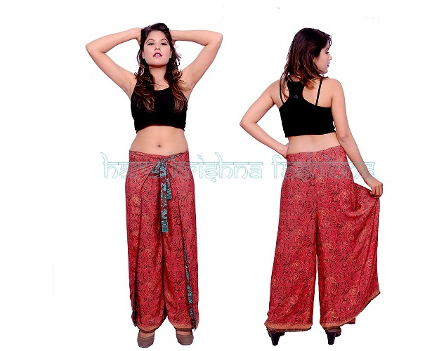 Silk Reversible Wrap Around Trouser