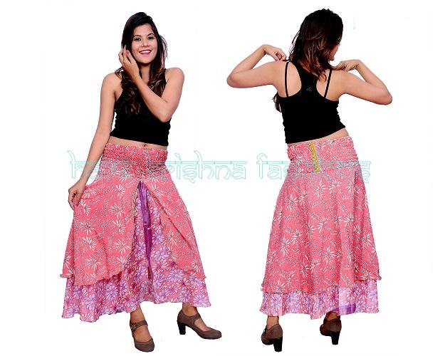 Silk Flap Open Dabi Skirt Cum Dress