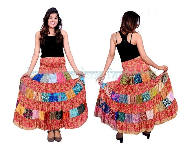 Silk Panch + Plain Fril Skirt Cum Dress