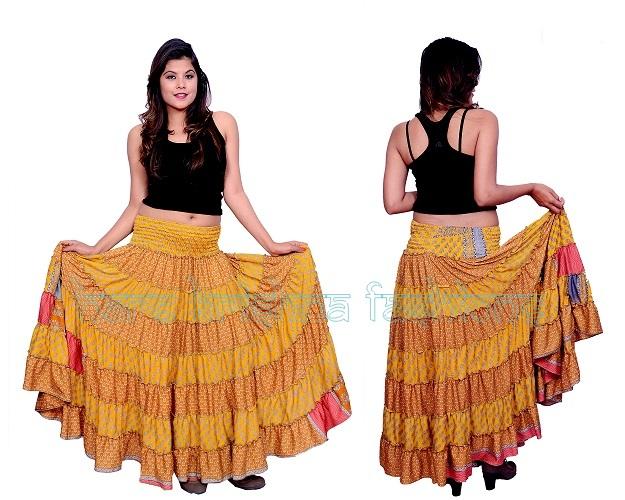 Silk 2 Colour Fril Skirt Cum Dress