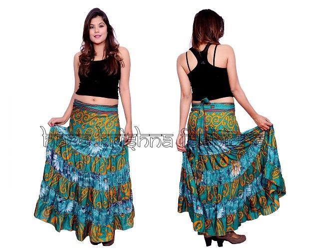 Silk Wrap Fril Skirt