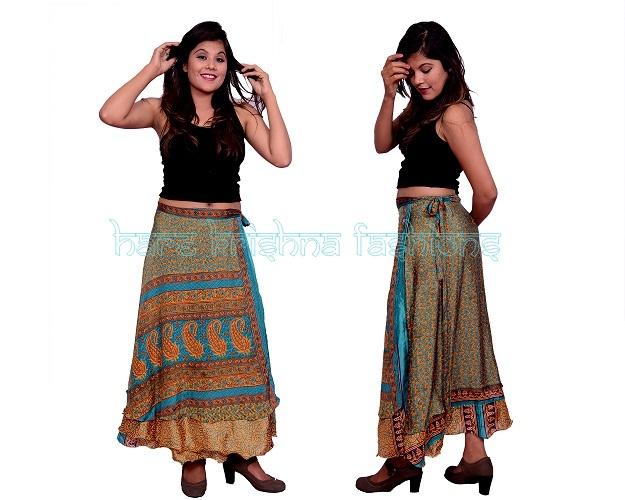 Silk Long Size Double Wrap Skirt Multi Wear