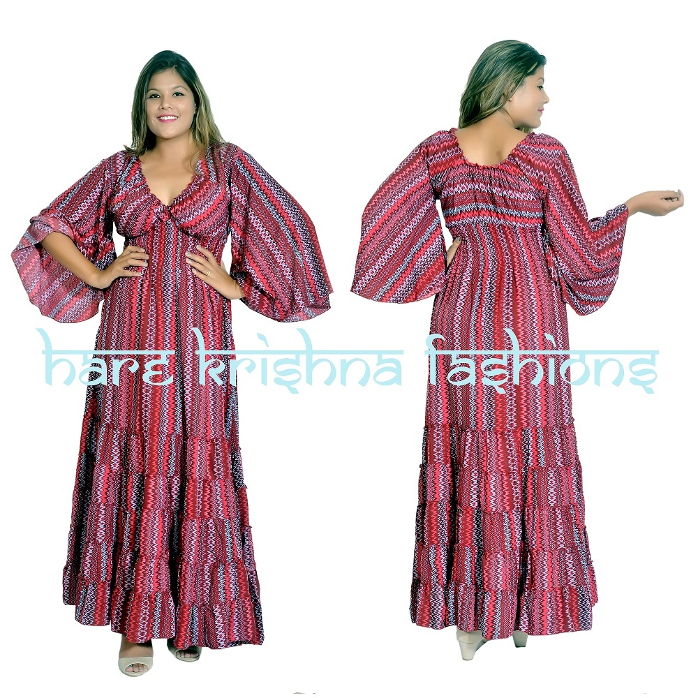Viscose Print Raber Choli Flare Sleeve Dress