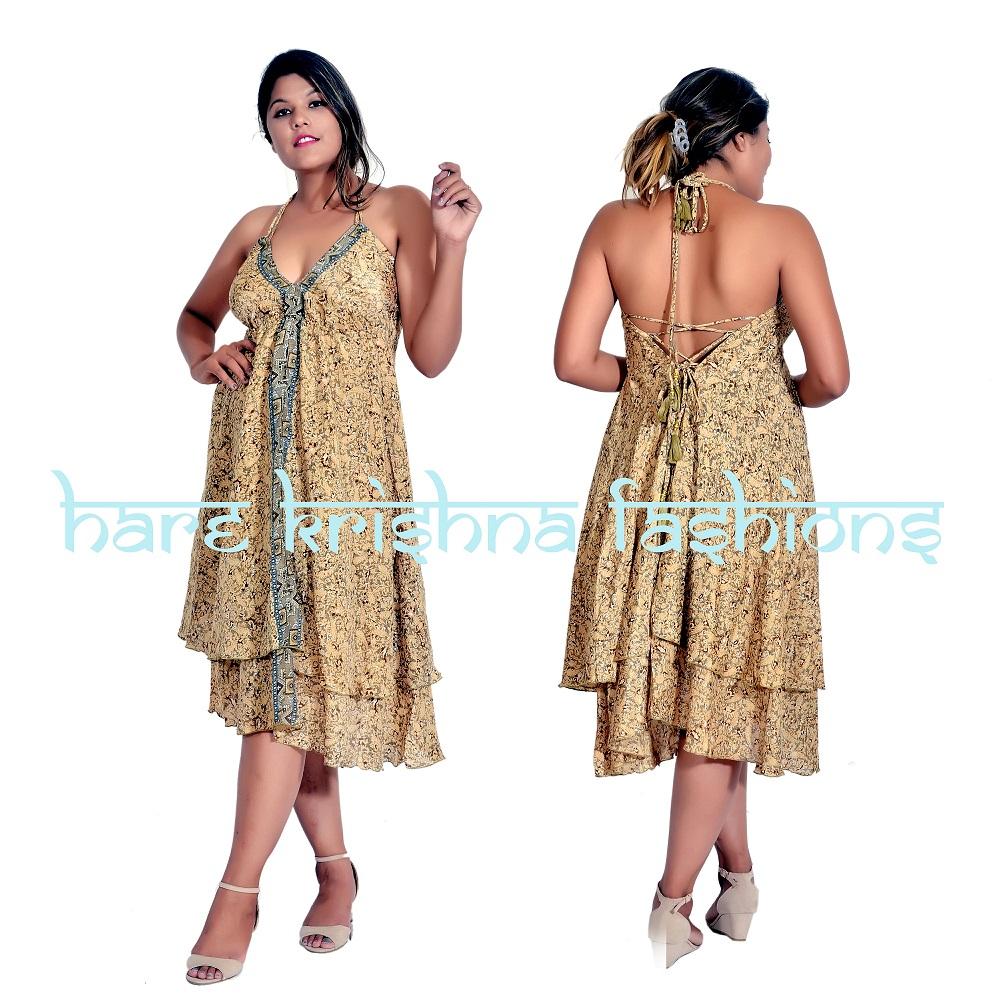 Silk Double Part M Size Magic Short Dress