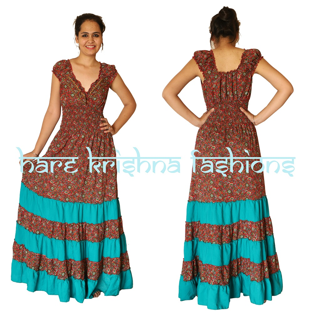 Viscose Print + Plain Viscose Mix Raber Choli Dress