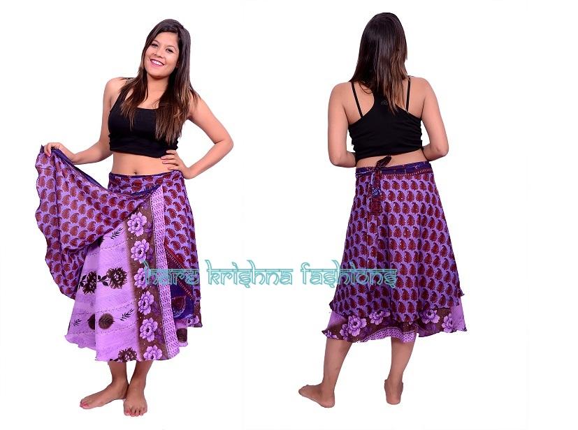 Silk M Size Double Wrap Skirt Multi Wear