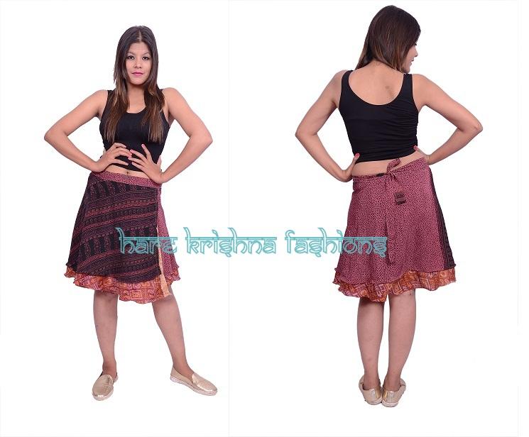 Silk Short Size Double Wrap Skirt Multi Wear