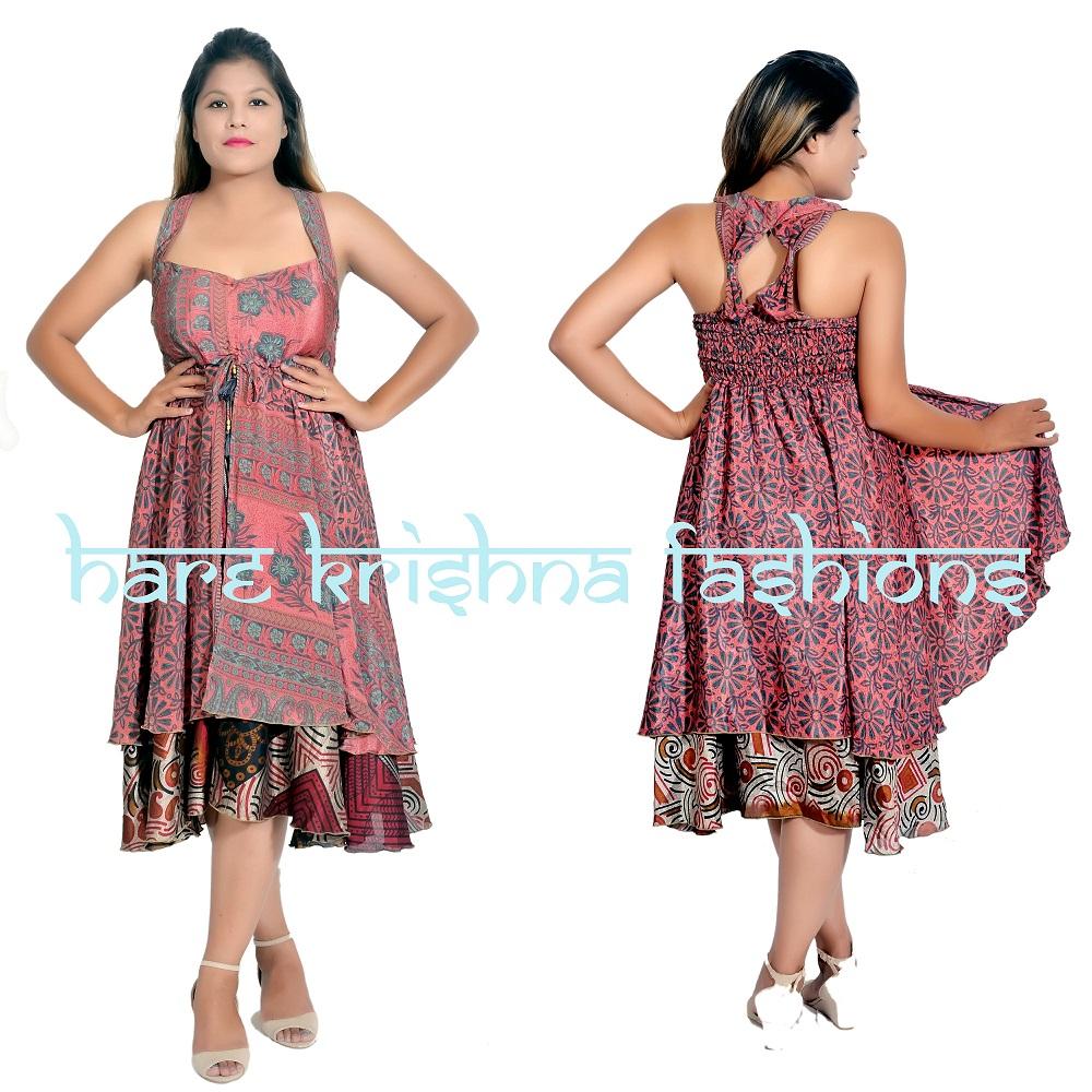 Silk Double Part Ring Short Dress