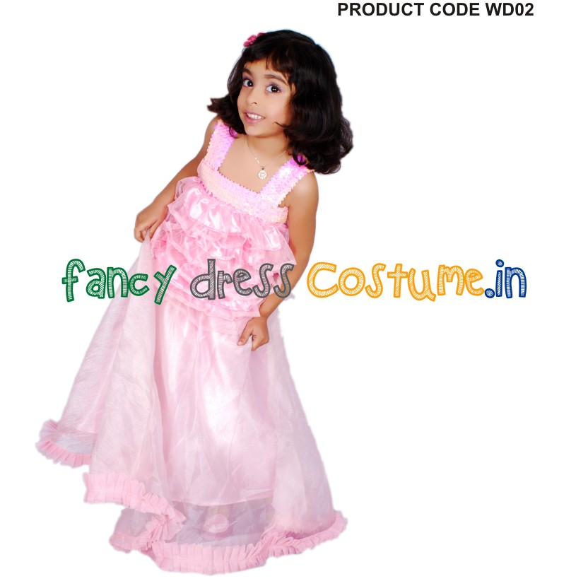 fancy dress pink princess gown india
