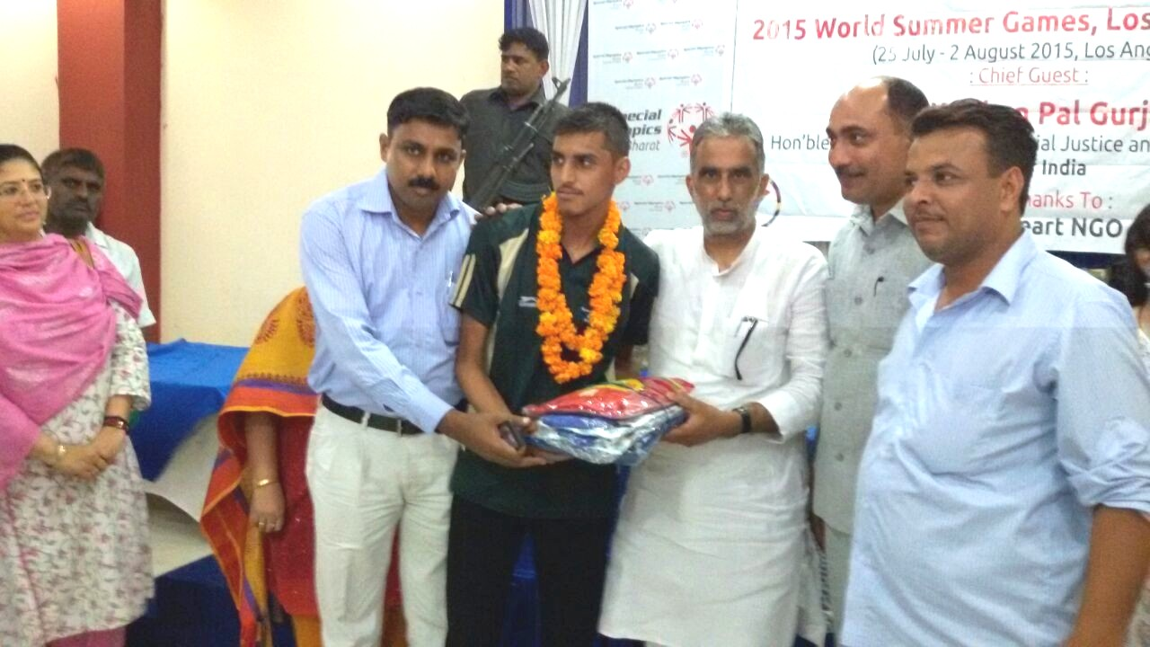 Honoring our student vedpal for selecting in team india to for World Summer Games 2015 to be held in Los Angeles, America